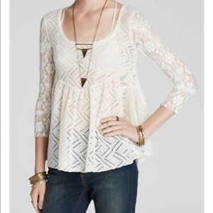 Free People Cream Crochet Lace top new